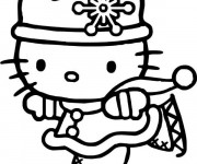 Coloriage Hello Kitty Princesse Skieuse