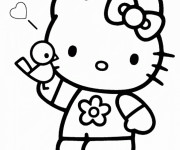 Coloriage Hello Kitty Princesse stylisé