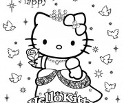 Coloriage L'anniversaire de Hello Kitty