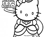Coloriage Princesse Hello Kitty et son Château