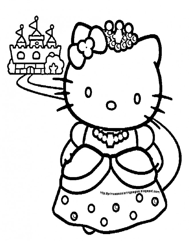 Coloriage Princesse Hello Kitty Et Son Chateau