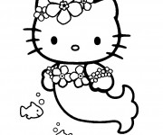 Coloriage Hello Kitty Sirene