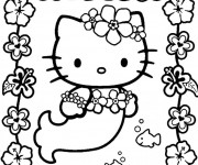 Coloriage dessin  Hello Kitty Sirene 2