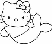 Coloriage et dessins gratuit Hello Kitty sirène à colorier à imprimer