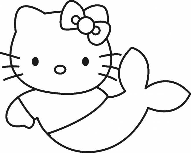 Coloriage et dessins gratuits Hello Kitty sirène à colorier à imprimer
