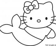 Coloriage et dessins gratuit Hello Kitty Sirène facile à imprimer
