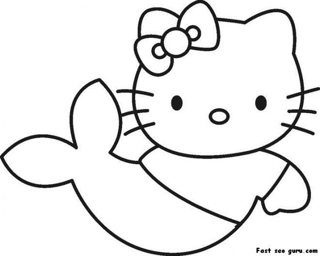 Coloriage hello kitty sir ne facile dessin gratuit imprimer - Dessin sirene facile ...