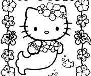 Coloriage et dessins gratuit Hello Kitty Sirène fleuri à imprimer