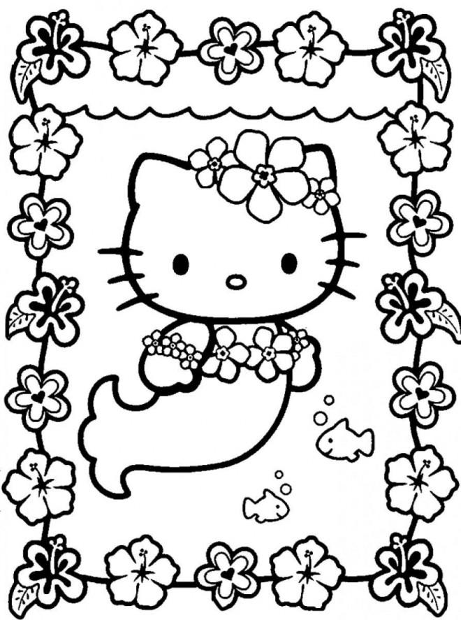 Coloriage Hello Kitty Sirene Fleuri Dessin Gratuit A Imprimer