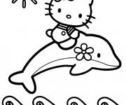 Coloriage Hello Kitty Sirène sous le soleil