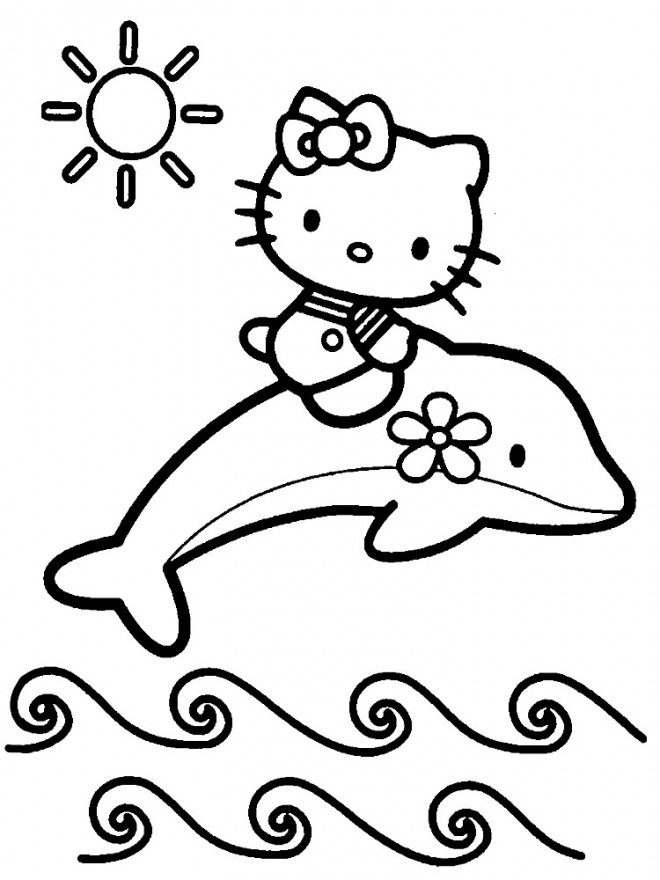 Coloriage Hello Kitty Sirene Sous Le Soleil
