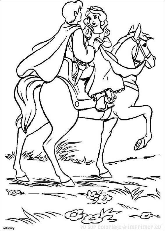Coloriage et dessins gratuits Blanche Neige et son Héro Disney à imprimer