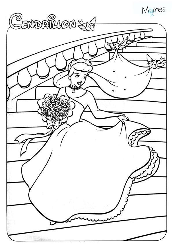 Coloriage et dessins gratuits Cendrillon dessin animé pour enfant à imprimer