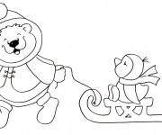 Coloriage et dessins gratuit Animaux d'Hiver dessin animé à imprimer