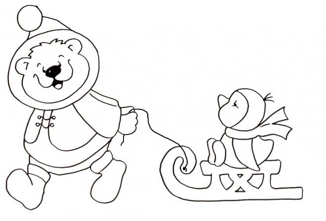 Coloriage et dessins gratuits Animaux d'Hiver dessin animé à imprimer