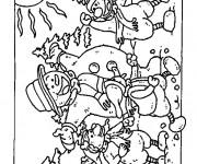 Coloriage Bonhomme de Neige dans La forêt
