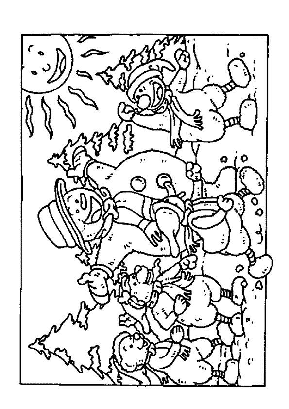 Coloriage et dessins gratuits Bonhomme de Neige dans La forêt à imprimer