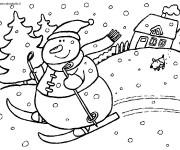 Coloriage Bonhomme de Neige fait du Ski en Hiver