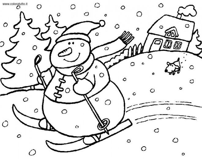 Coloriage et dessins gratuits Bonhomme de Neige fait du Ski en Hiver à imprimer