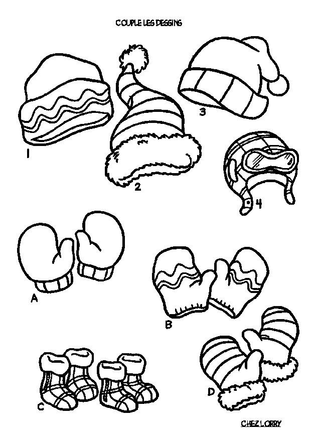 Coloriage et dessins gratuits Des Vêtements pour se chauffer en Hiver à imprimer