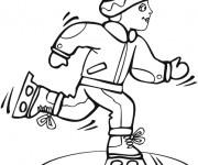 Coloriage Enfant Skieur vecteur