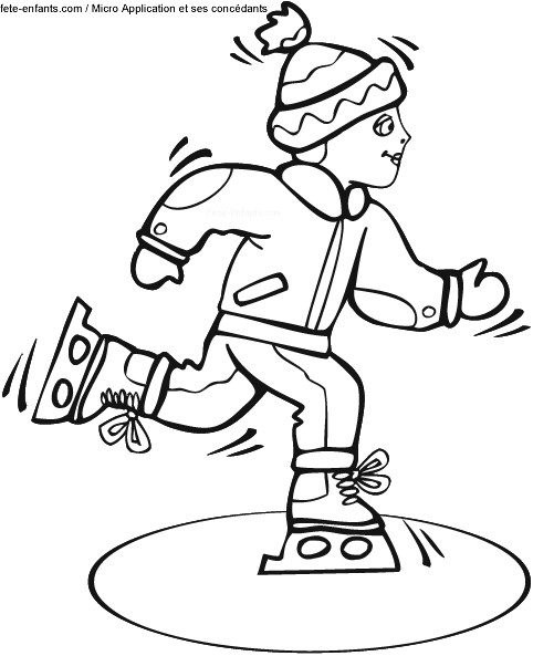 Coloriage et dessins gratuits Enfant Skieur vecteur à imprimer