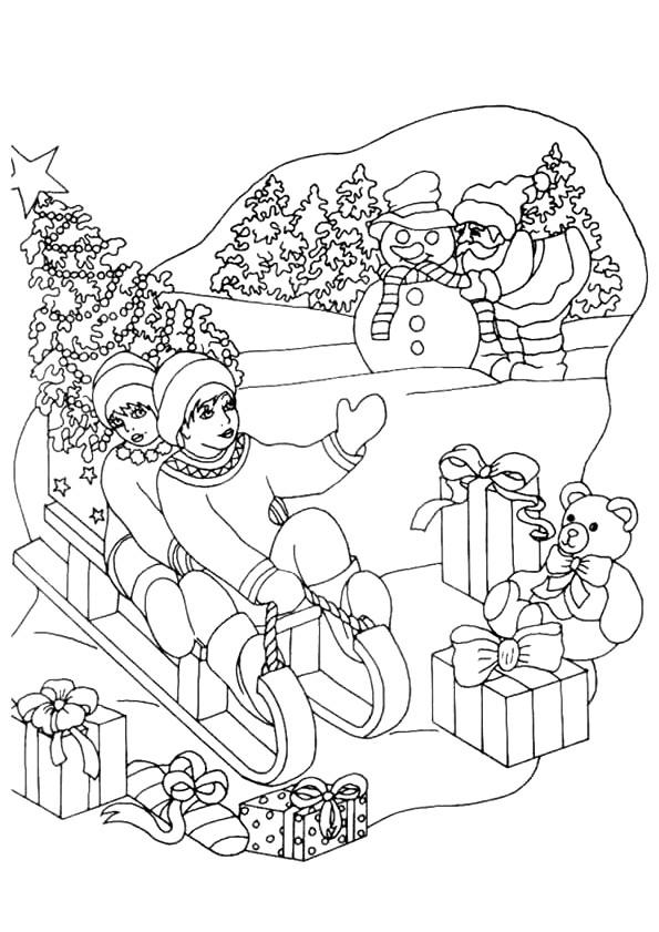 Coloriage et dessins gratuits Hiver Maternelle de Noel à imprimer