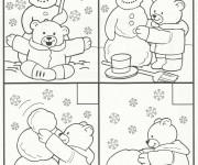 Coloriage et dessins gratuit Ours construit le Bonhomme de Neige en Hiver à imprimer