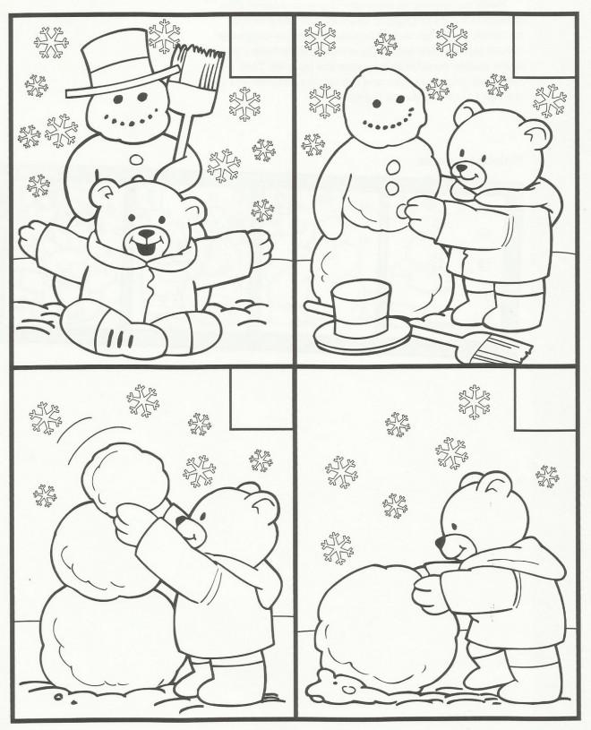 Coloriage et dessins gratuits Ours construit le Bonhomme de Neige en Hiver à imprimer