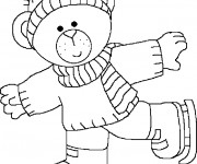 Coloriage Ours fait du patin