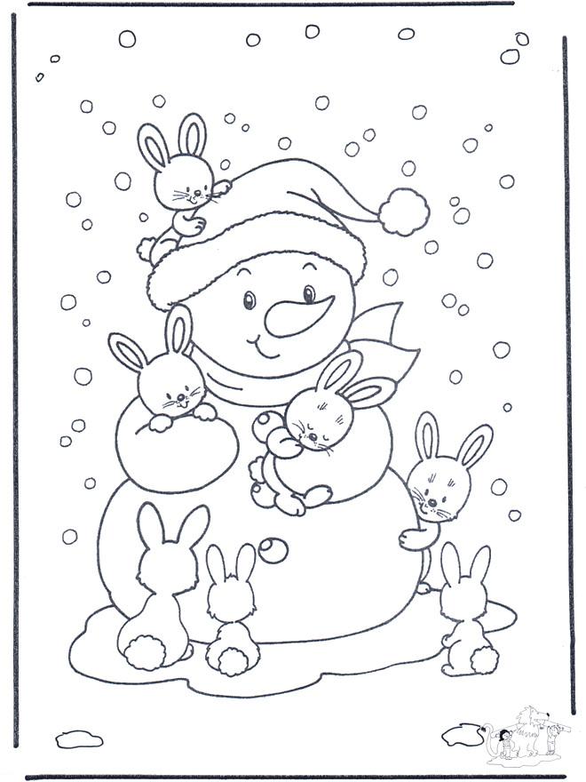 Coloriage et dessins gratuits Bonhomme de Neige et Les Lapins à imprimer