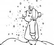 Coloriage Enfant Neige en Hiver