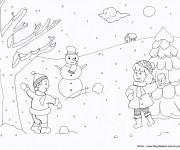 Coloriage Enfants s'amusent avec La neige