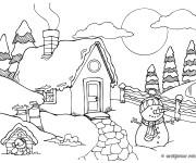 Coloriage et dessins gratuit Un petit Chalet de campagne à imprimer