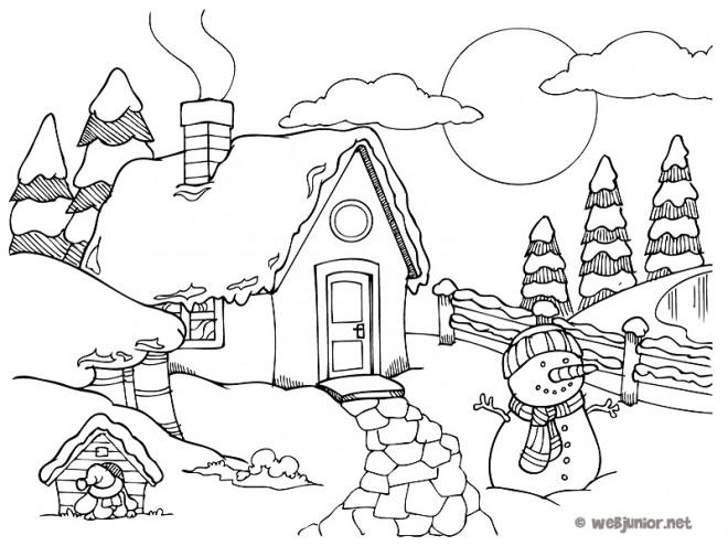 Coloriage et dessins gratuits Un petit Chalet de campagne à imprimer