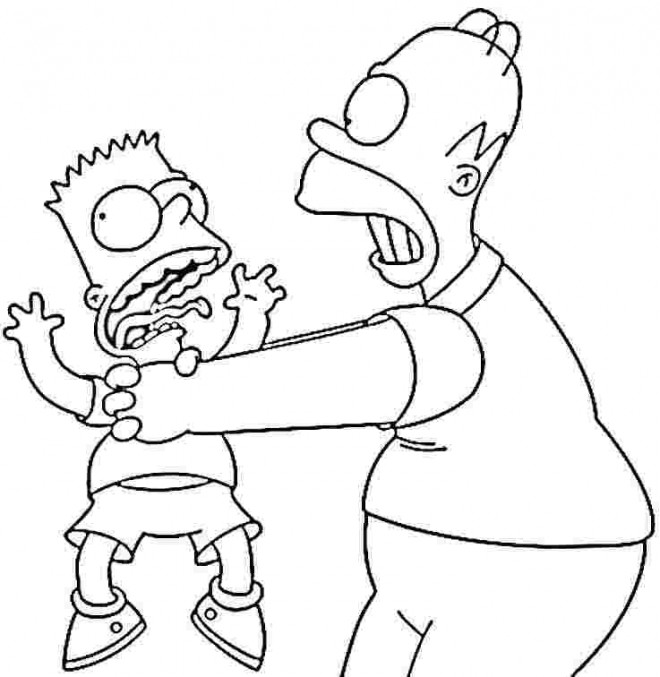 Coloriage bart et son p re homer dessin gratuit imprimer - Dessin d homer simpson ...