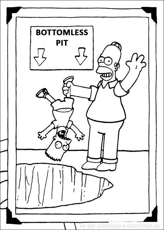 Coloriage et dessins gratuits Bart et son père humoristique à imprimer