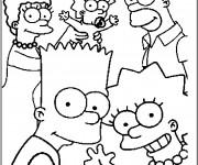 Coloriage Bart Simpson en Famille à découper