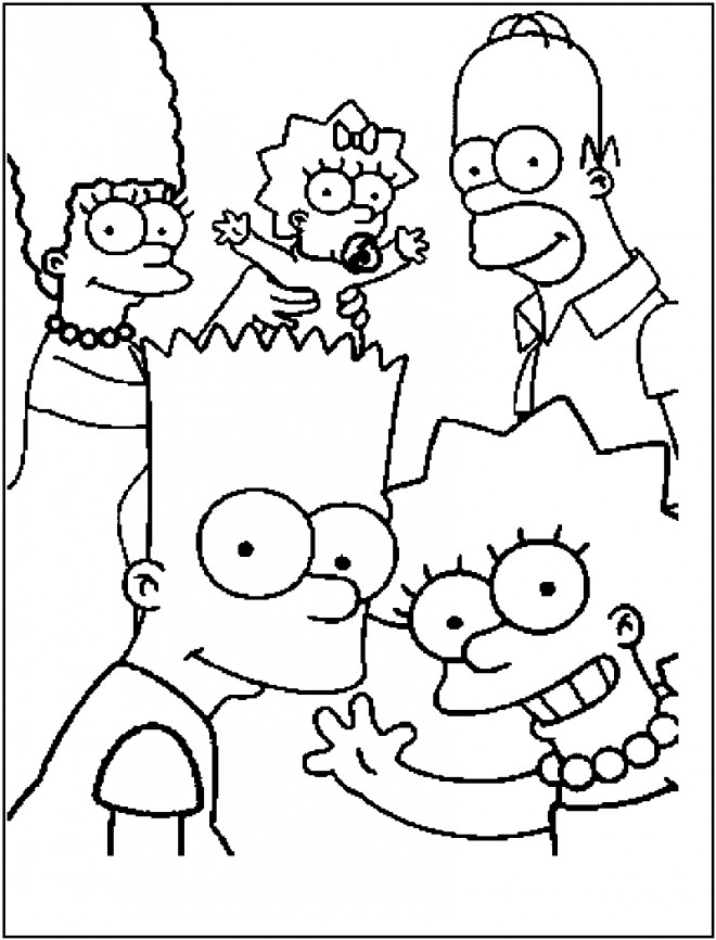 Coloriage et dessins gratuits Bart Simpson en Famille à découper à imprimer