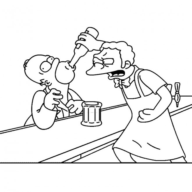 Coloriage et dessins gratuits Homer au Bar comique à imprimer