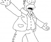 Coloriage Homer chanteur de Rock