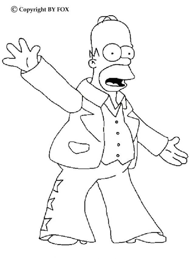 Coloriage et dessins gratuits Homer chanteur de Rock à imprimer