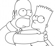 Coloriage Homer et Bart Simpson