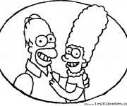 Coloriage et dessins gratuit Homer et sa femme Marge Simpson à imprimer