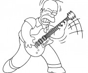 Coloriage Homer joue au guitar