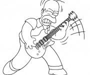 Coloriage et dessins gratuit Homer joue au guitar à imprimer