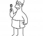 Coloriage et dessins gratuit Homer Simpson à La Salle de Bain à imprimer