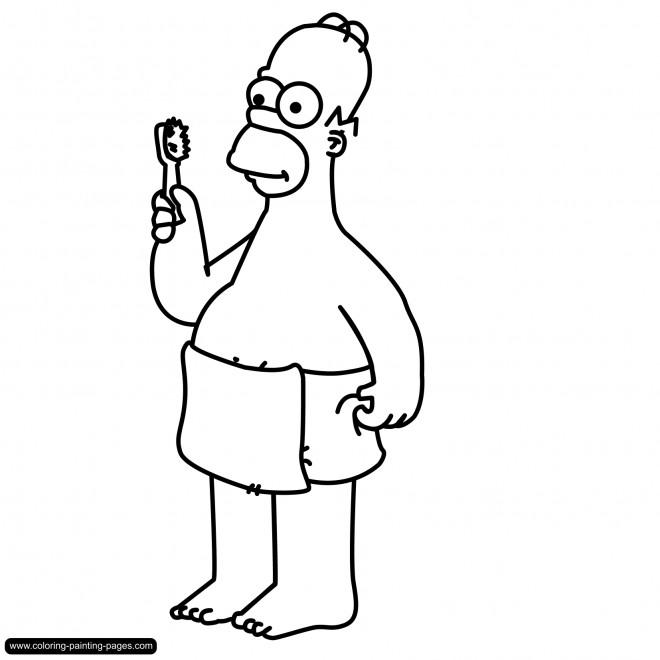 Coloriage et dessins gratuits Homer Simpson à La Salle de Bain à imprimer