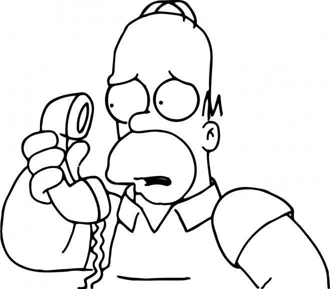Coloriage et dessins gratuits Homer Simpson au Téléphone à imprimer