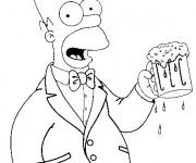 Coloriage et dessins gratuit Homer Simpson bois de La Bière à imprimer